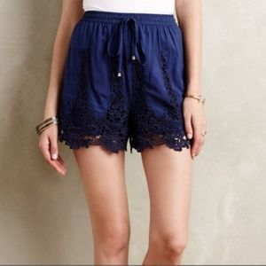 Elevenses Navy Blue Crochet Eyelet Pull On Shorts